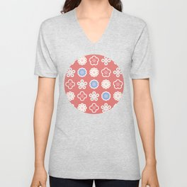 Retro Flowers Pattern with Red Background Unisex V-Neck
