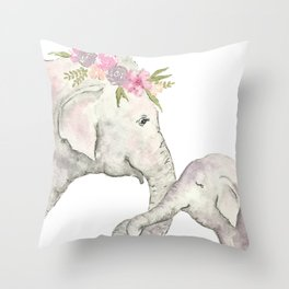 Elephant Mother and Baby Watercolor Throw Pillow