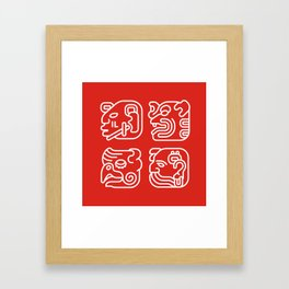 Mayan Glyphs ~ Heads Framed Art Print
