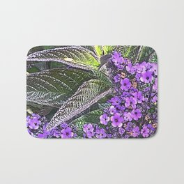 Spring floral blossom in lilac and green Bath Mat