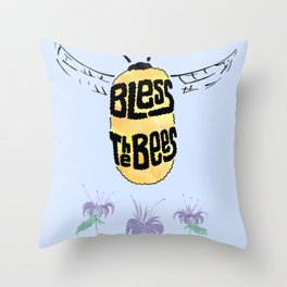 Bless the Bees Throw Pillow