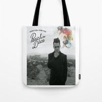 panic at the disco Tote Bags featuring Panic! At The Disco Album Cover by marinasdiamonds