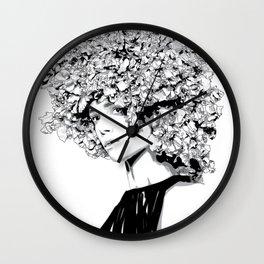 Fashion portrait illustration haute couture Valentino inspired design Wall Clock