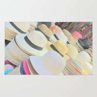 hats Area & Throw Rugs featuring Hats by Eva Lesko