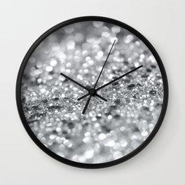 Silver Gray Lady Glitter #1 #shiny #decor #art #society6 Wall Clock