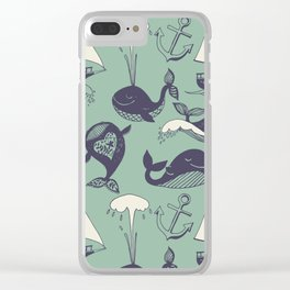 funny whales Clear iPhone Case