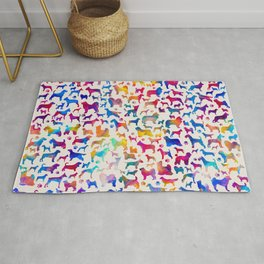 Fun Colorful Dog breeds Silhouettes Pattern Rug