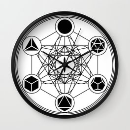 Platonic Solids, Metatrons Cube, Flower of Life Wall Clock