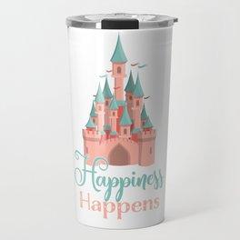Happiness Happens Castle Newlywed Engagement Couple Travel Mug