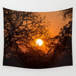 Sultry sun setting behind the sausage tree Wall Tapestry