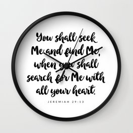 Jeremiah 29:13 - Bible Verse Wall Clock