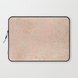Hand painted coral pink faux gold splatters Laptop Sleeve