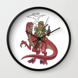 Leprechaun on a Velociraptor for St. Patrick's Day Wall Clock
