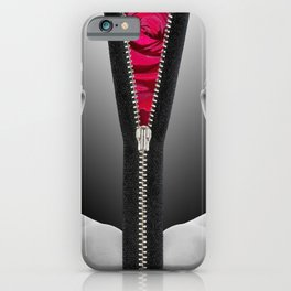 Woman Black & White - Zipper Rose iPhone Case