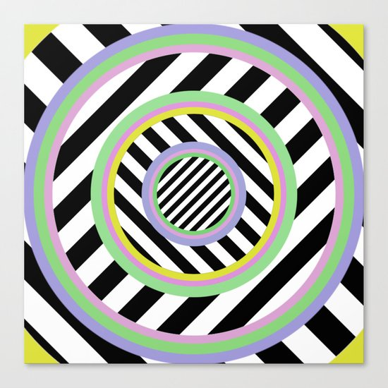 Circles, stripes and pastel colours Canvas Print