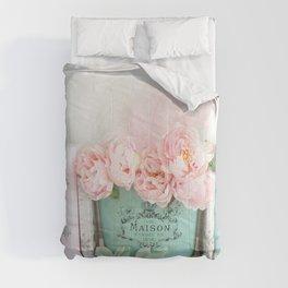 Paris Peonies Books Prints Aqua Pink Prints and Home Decor Comforters
