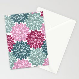 Petals in Rose, Maroon and Light and Dark Cyan Stationery Cards