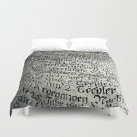 writing Duvet Covers featuring ancient writing by Falko Follert Art-FF77