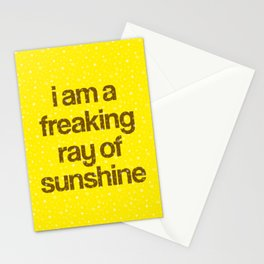 i am a freaking ray of sunshine (Sparkle Pattern) Stationery Cards