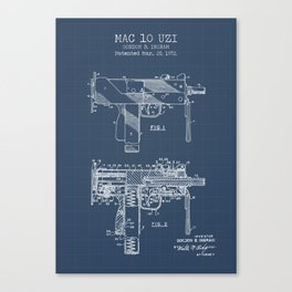 Mac 10 Uzi blueprint Canvas Print