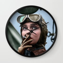 Woman Airforce Service Pilot - WASP from WW 2. Restored and colorized Wall Clock