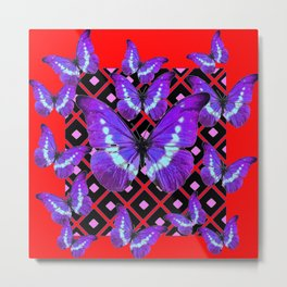 Chinese Red And Purple Butterflies on Black Art Metal Print