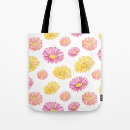 Blush pink yellow watercolor hand painted daisies floral Tote Bag