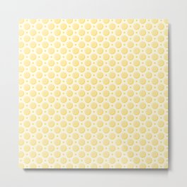 Yellow Lemon Slice Pattern Metal Print