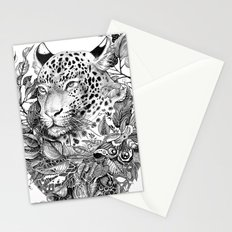 black and white jungle leopard Stationery Cards