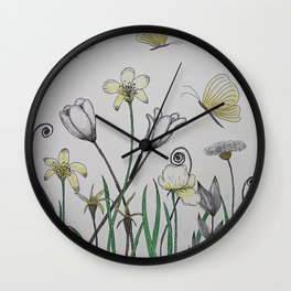 Doodle Summer Flowers / Watercolor Painting Wall Clock
