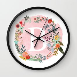 Flower Wreath with Personalized Monogram Initial Letter B on Pink Watercolor Paper Texture Artwork Wall Clock
