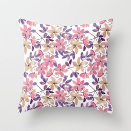 Cute watercolor pink, beige flowers on white Throw Pillow
