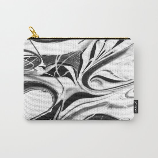 Black and white swirl - Abstract, black and white swirly, paint mix texture Carry-All Pouch