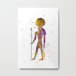 Egyptian god chons in watercolor Metal Print