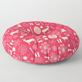White Objects Christmas Pattern Floor Pillow
