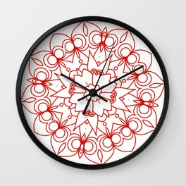 simple red lines mandala art Wall Clock