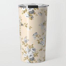 Ivory gray white gold glitter country boho floral Travel Mug