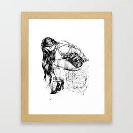 Lady on Cube Framed Art Print