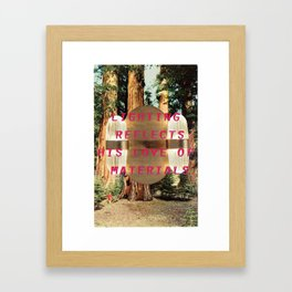 Lighting refelcts his love of materials (San Pietro Pendant and Mariposa Grove) Framed Art Print
