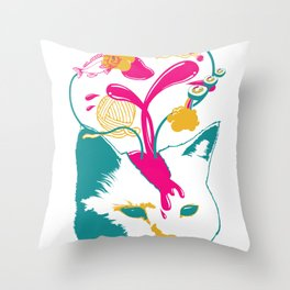 Liquid thoughts:Cat Throw Pillow