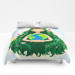 Beautiful Flowing Flower Earth Mother Figure Comforters