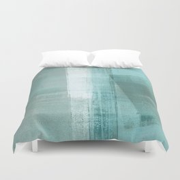Turquoise Aqua Taupe Geometric Abstract Painting 3 Duvet Cover