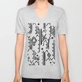 Geometrical black white hand painted tribal Unisex V-Neck
