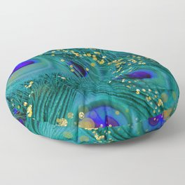 Teal Peacock Feathers Floor Pillow