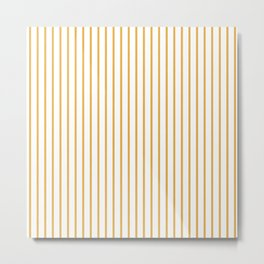 Marigold Yellow Pinstripe on White Metal Print