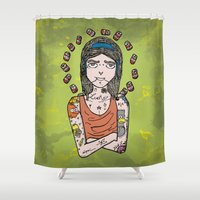 simpson Shower Curtains featuring Saint Simpson by A+A Noisome Art