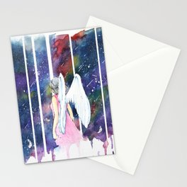 Angel Under Shooting Stars Stationery Cards