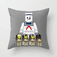 ghostbusters Throw Pillows featuring Ghostbusters  by AWOwens