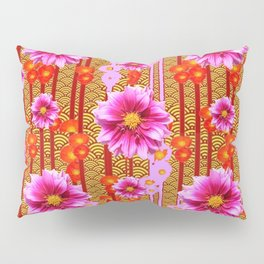 Lilac Purple Dahlia Flowers Orange Abstract Pattern Pillow Sham