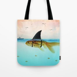 goldfish with a shark fin Tote Bag